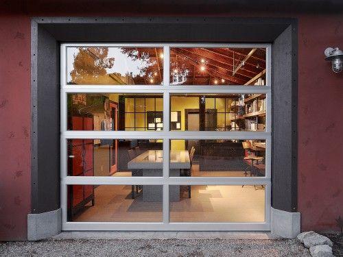 A New Look For The Overlooked Garage Door Garage Doors Glass Garage Door Industrial Home Offices