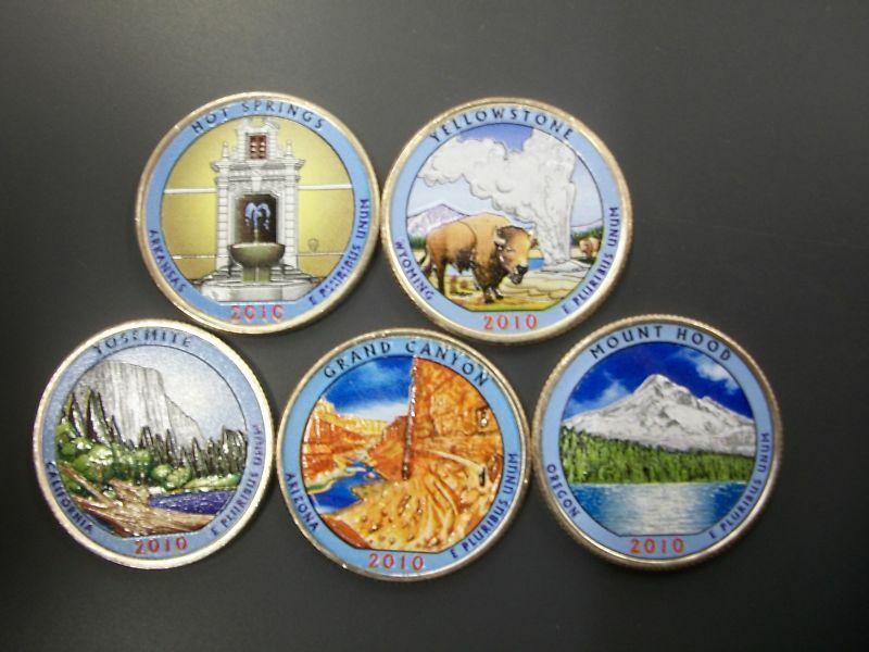 2016 Complete Set Of Colorized Set Of National Park Quarters P Mint 5 Coins