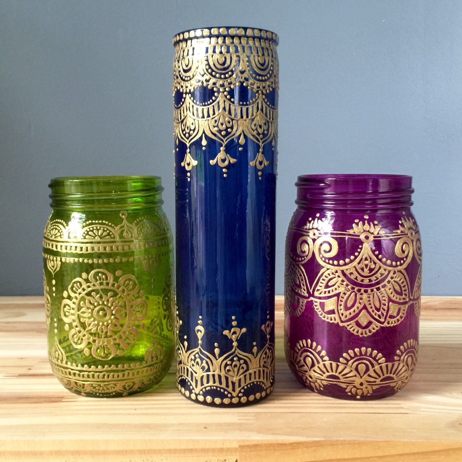 Henna style cobalt blue glass bud vases with bohemian designs henna style cobalt blue glass bud vases with bohemian designs reviewsmspy