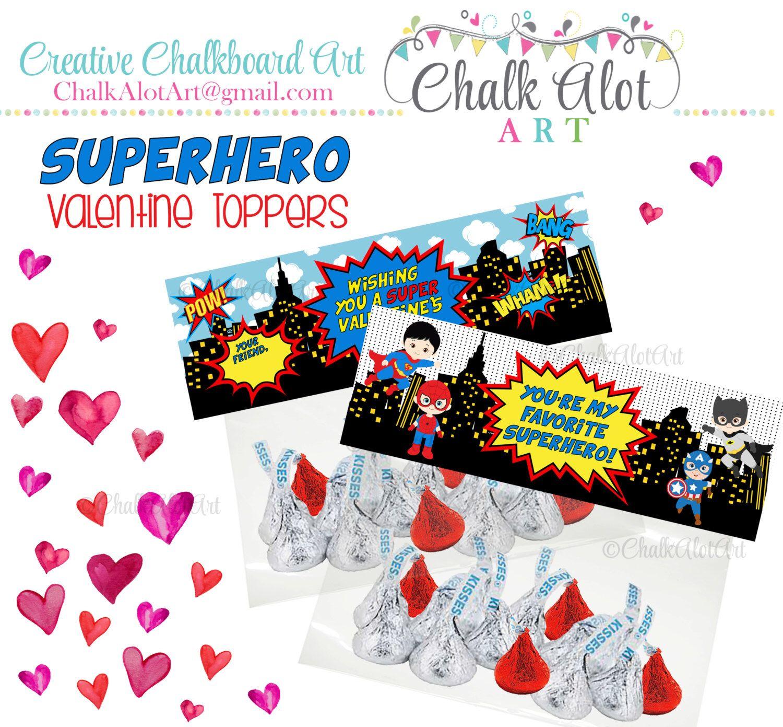 Superhero Valentine Treat Bag Toppers Valentine Favors