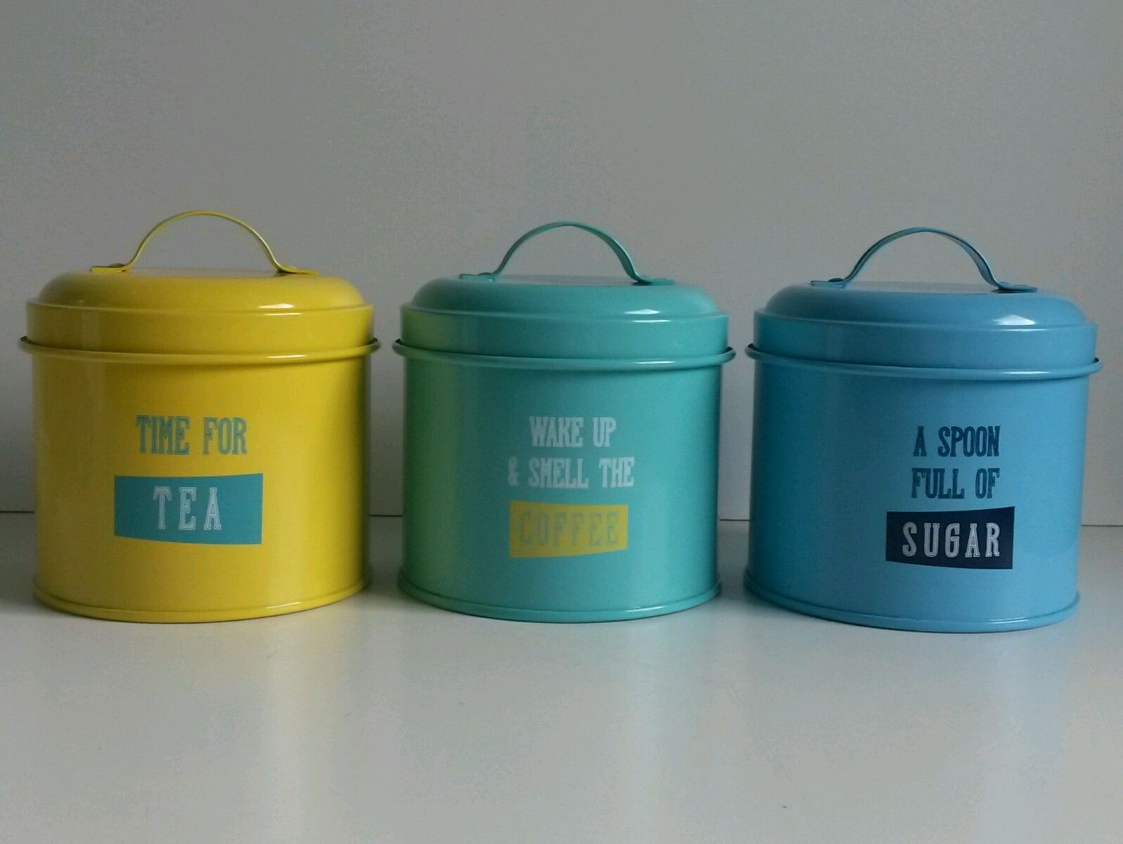 NEW SET 3 RETRO VINTAGE TEA COFFEE SUGAR canisters tins kitchen ...