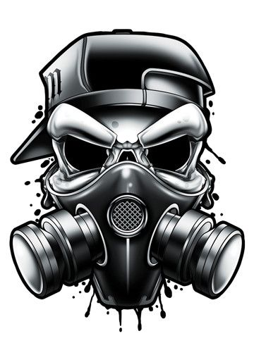 Gas Mask - Black and Grey Temporary Tattoos