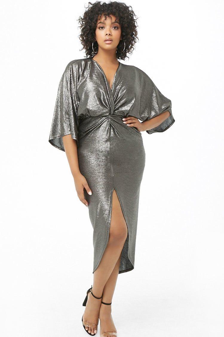 eab9ea9477 Plus Size Metallic Twist-Front Dress