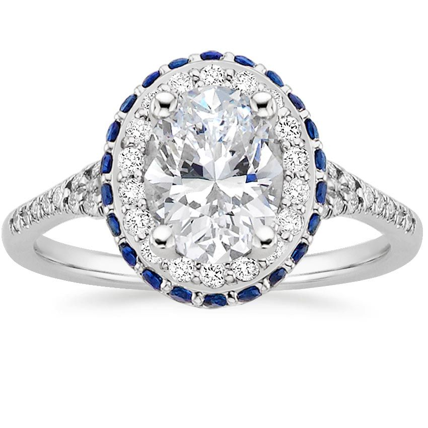 ad9e5ca50a32 Oval Cut Circa Halo Diamond with Sapphire Accents Engagement Ring - Platinum
