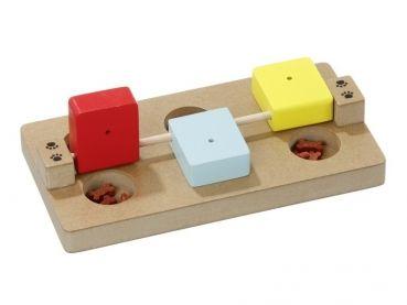 #Aktiv-Spielzeug für Hunde. Dieses hochwertige robuste Brettspielzeug aus Holz mit bunten Klötzen ist für Welpen und kleine Hunderassen entwickelt worden. Intelligenzspiel für Hunde aus Holz.