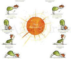 sun salutation cartoon  ท่าเล่นโยคะ ความท้าทาย ออกกำลังกาย