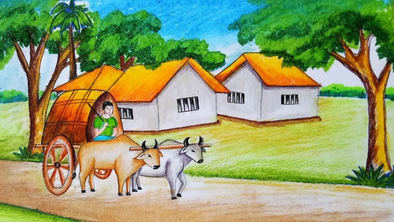 How to draw scenery of bullock cart with oil pastel step by step