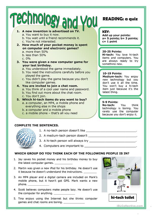 Technology And You Worksheet Free Esl Printable Worksheets Made By Teachers Technology Vocabulary Reading Comprehension Lessons Reading Comprehension