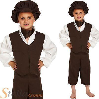 Child Victorian Poor Boy Oliver Twist Book Week Waistcoat /& Hat Fancy Dress New