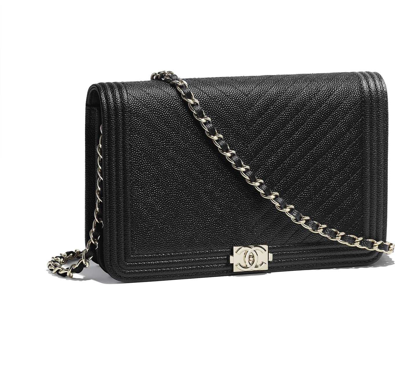 6423f07a81 BOY CHANEL Wallet on Chain, grained goatskin & gold-tone metal ...