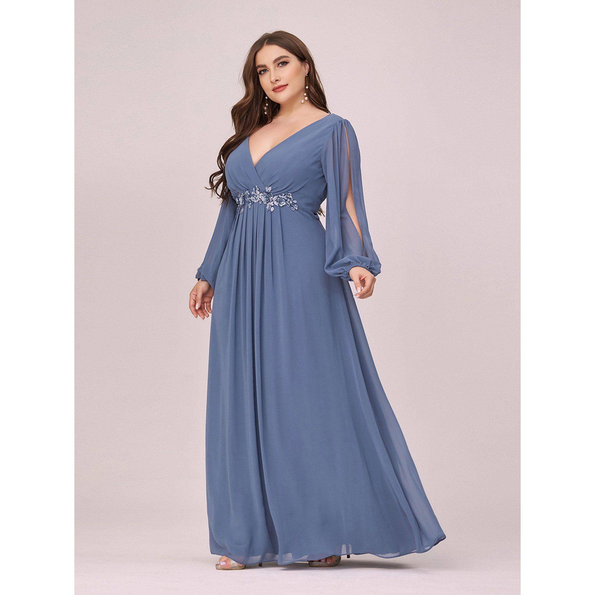 Ever Pretty Ever Pretty Women S Plus Size A Line Long Sleeve V Neck Chiffon Mother Of The Bride Dress 00461 Dusty Blue Us16 Walmart Com In 2021 Bridesmaid Dresses Plus Size Evening Dresses Plus [ 2000 x 2000 Pixel ]