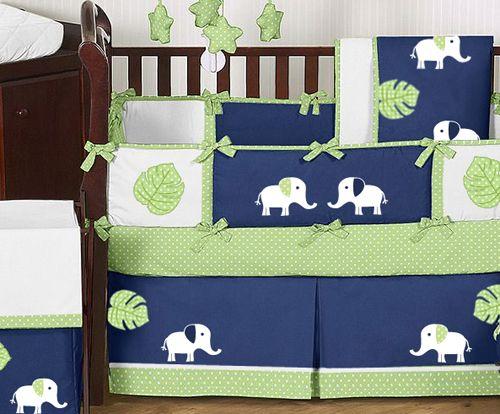 Navy Blue Baby Bedding Modern Lime Green White Elephant Boy Crib Set