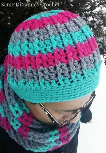 Cables and Stripes free crochet hat pattern | Tuch häkeln, Schals ...
