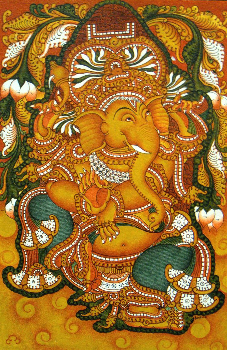 Pin by manu mohanan on mural paintings pinterest for Mural art of ganesha