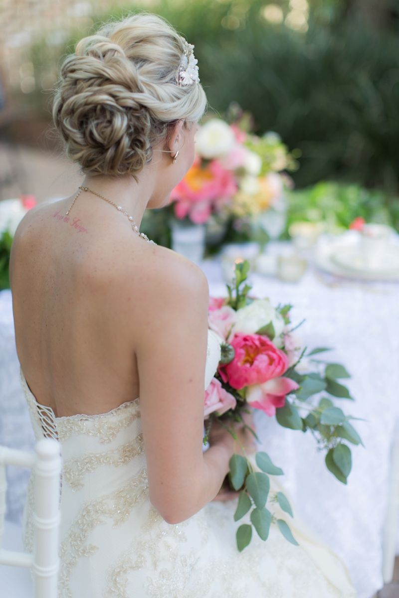 Elegant Pink Garden Wedding Inspiration Wedding Day Hair Make