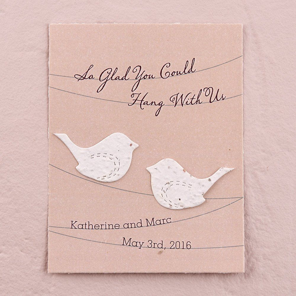 Seed Paper Love Birds Personalized Favor Card - Multiple Colors ...