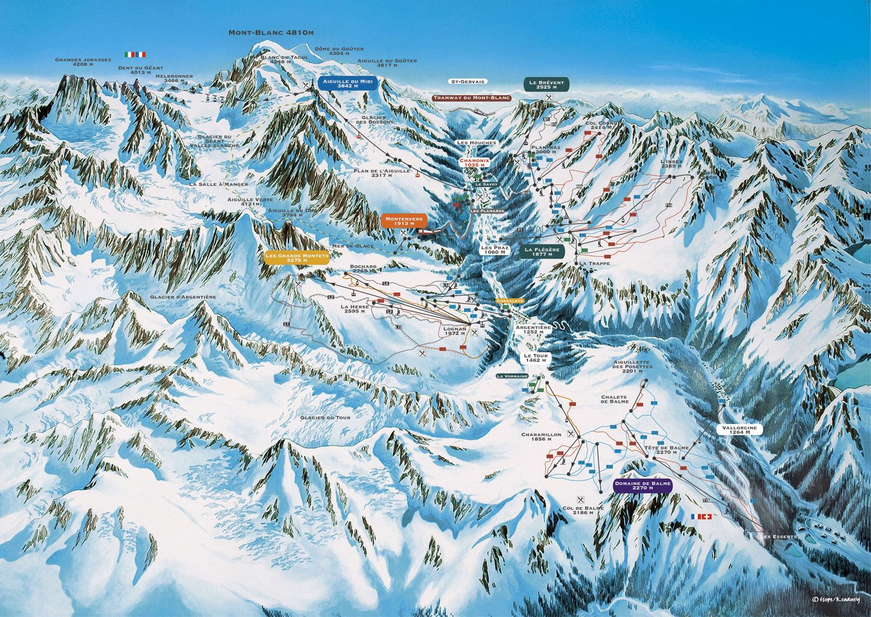 A Chamonix piste map France Pinterest Mont blanc and France