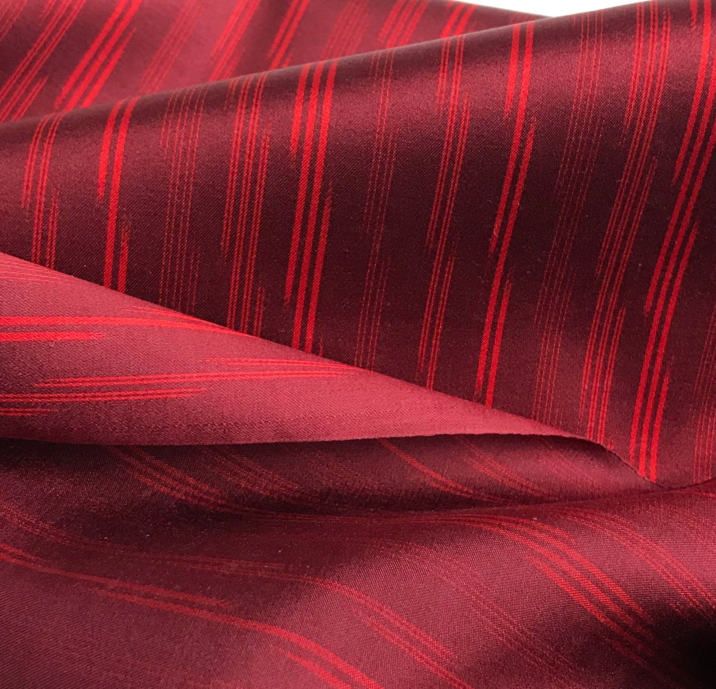 Japanese Silk Fabric By The Yard Striped Red Satin Woven Ikat Etsy Japanese Silk Japanese Fabric Red Satin