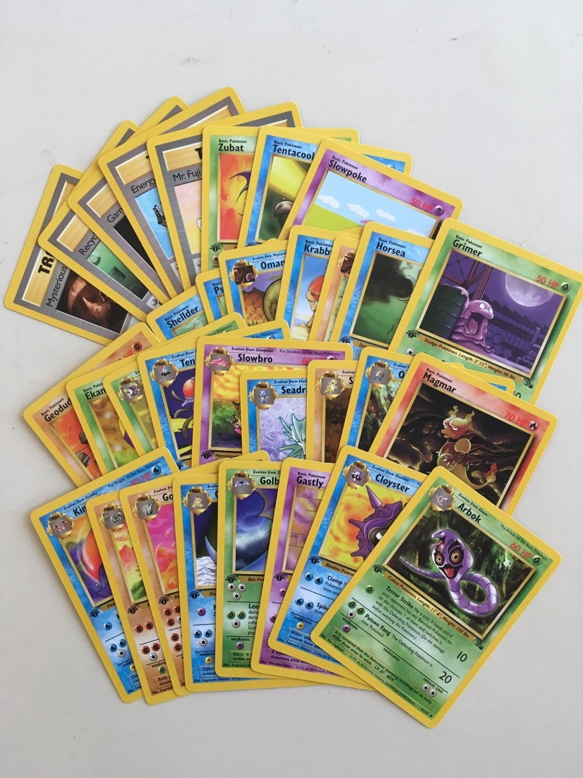 Pokemon Complete Set 32 FOSSIL 1st Edition Common and Uncommon Cards