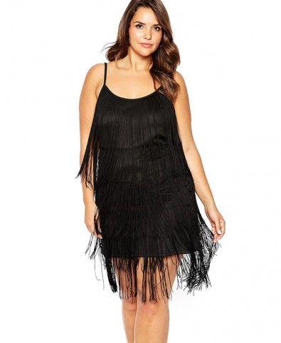plus size solid cami dress with fringe | plus size fashion