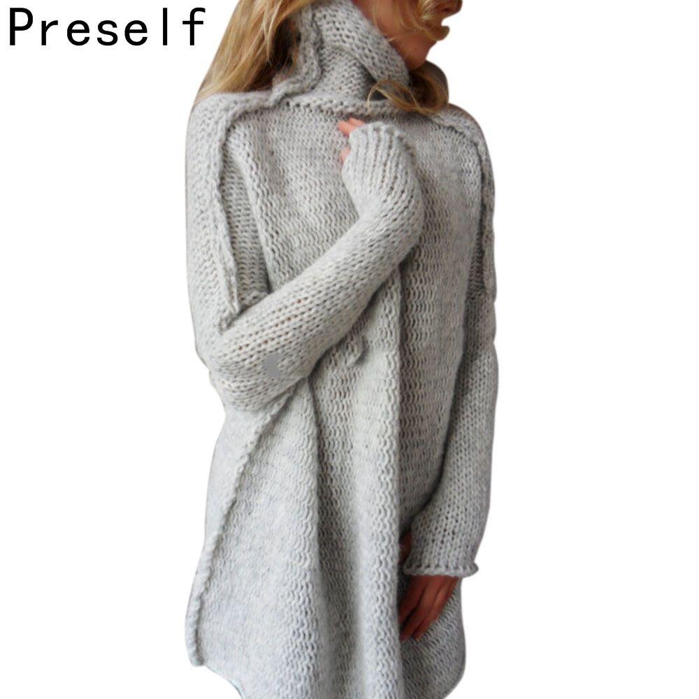 Preself 스웨터 니트 느슨한 배트 윙 구멍 소매 스웨터 점퍼 착실히 ...