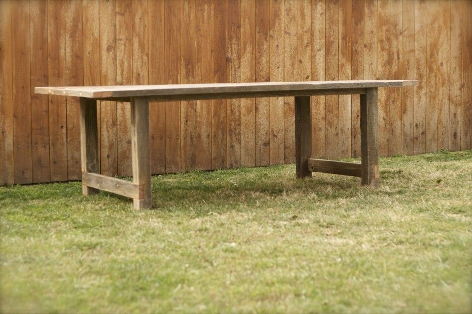 Furniture, : Furniture Design Ideas With Cool Outdoor Salvaged Dining Table  With Simple Square Straight Wooden Legs Combine With Wooden Hedge And Grass  ...