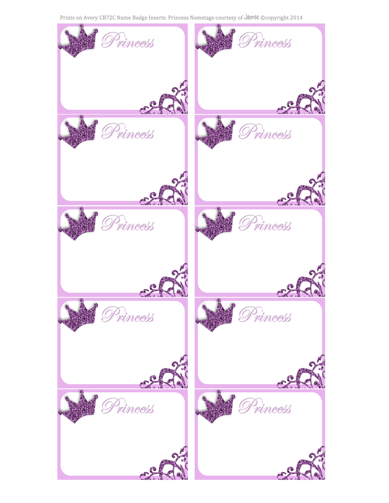 Princess Labels FREE Printable Kids Pinterest Labels Free - Card template free: name placard template