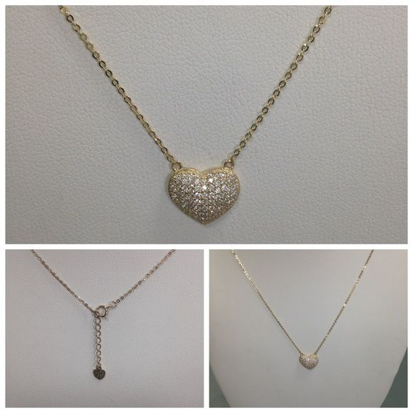 "Fancy Jewelry 14 kt Gold yellow heart necklace 17"" long with 1"" extension chain with cubic zirconias. Jewelry Necklaces"