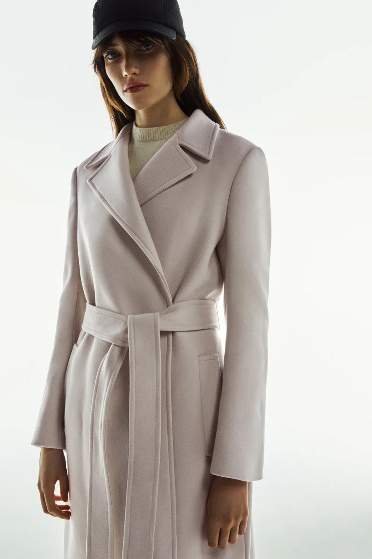 Belted Wool Blend Coat Zara Canada Coat Wool Coat Women Faux Shearling Coat [ 1500 x 1000 Pixel ]
