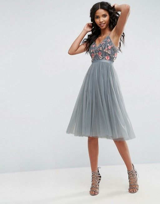 9d99eb371f5a Needle & Thread Whisper Embroidered Tulle Midi Dress from Asos ...