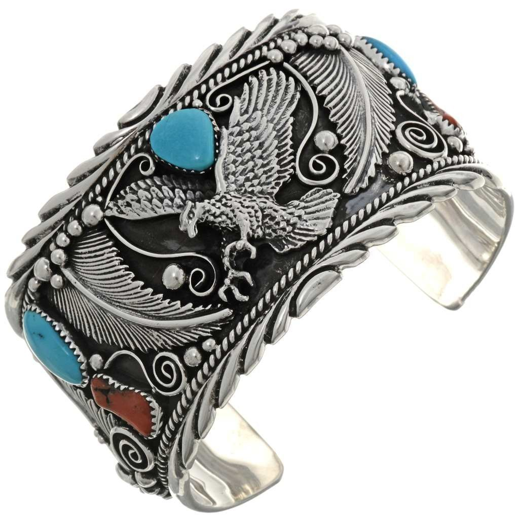 faaaeecdfd687 Eagle Turquoise Mens Cuff Big Boy Handcrafted Silver Bracelet 0040 ...