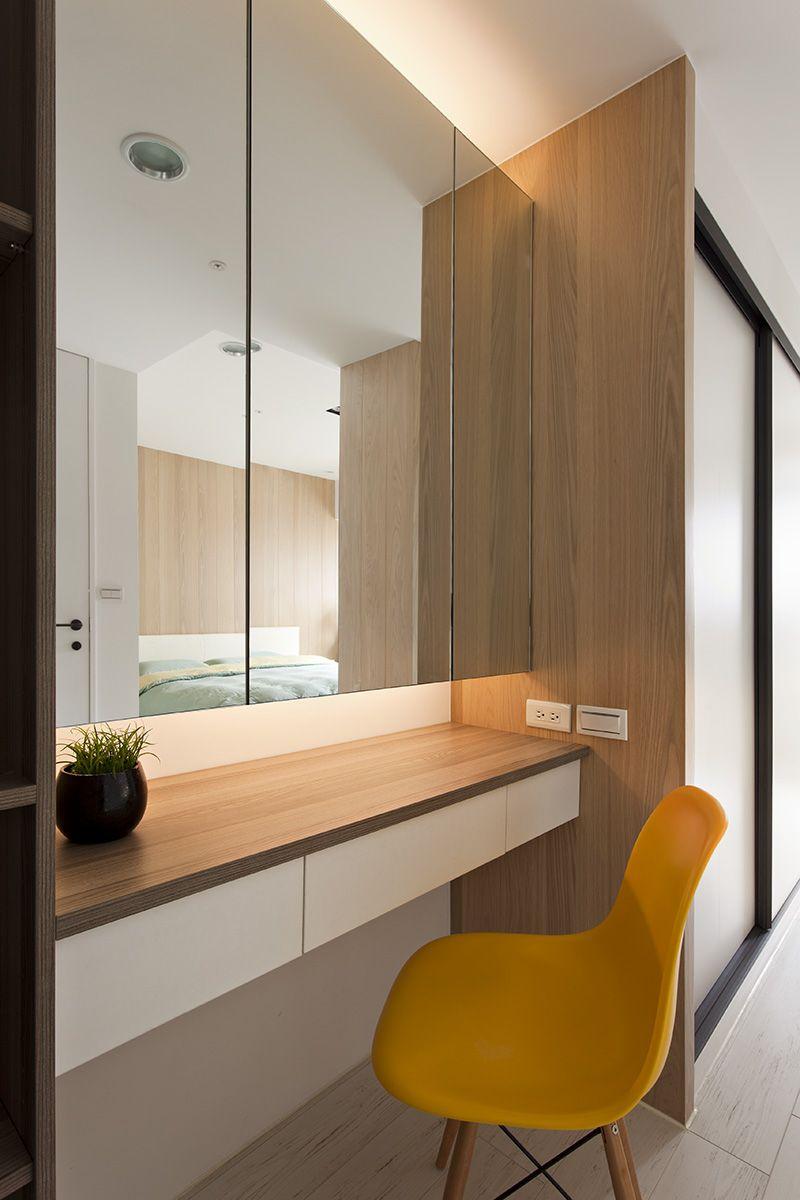 Minimalist vanity in bedroom bright yellow vanities and wardrobes