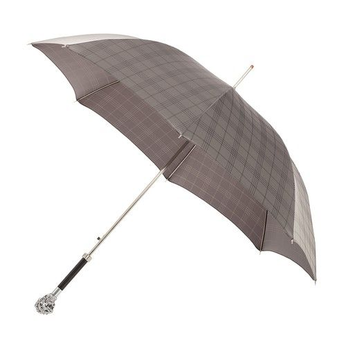 Pasotti men's italian handmade umbrella with metal lion handle and grey check canopy ( art.4004 ), $219