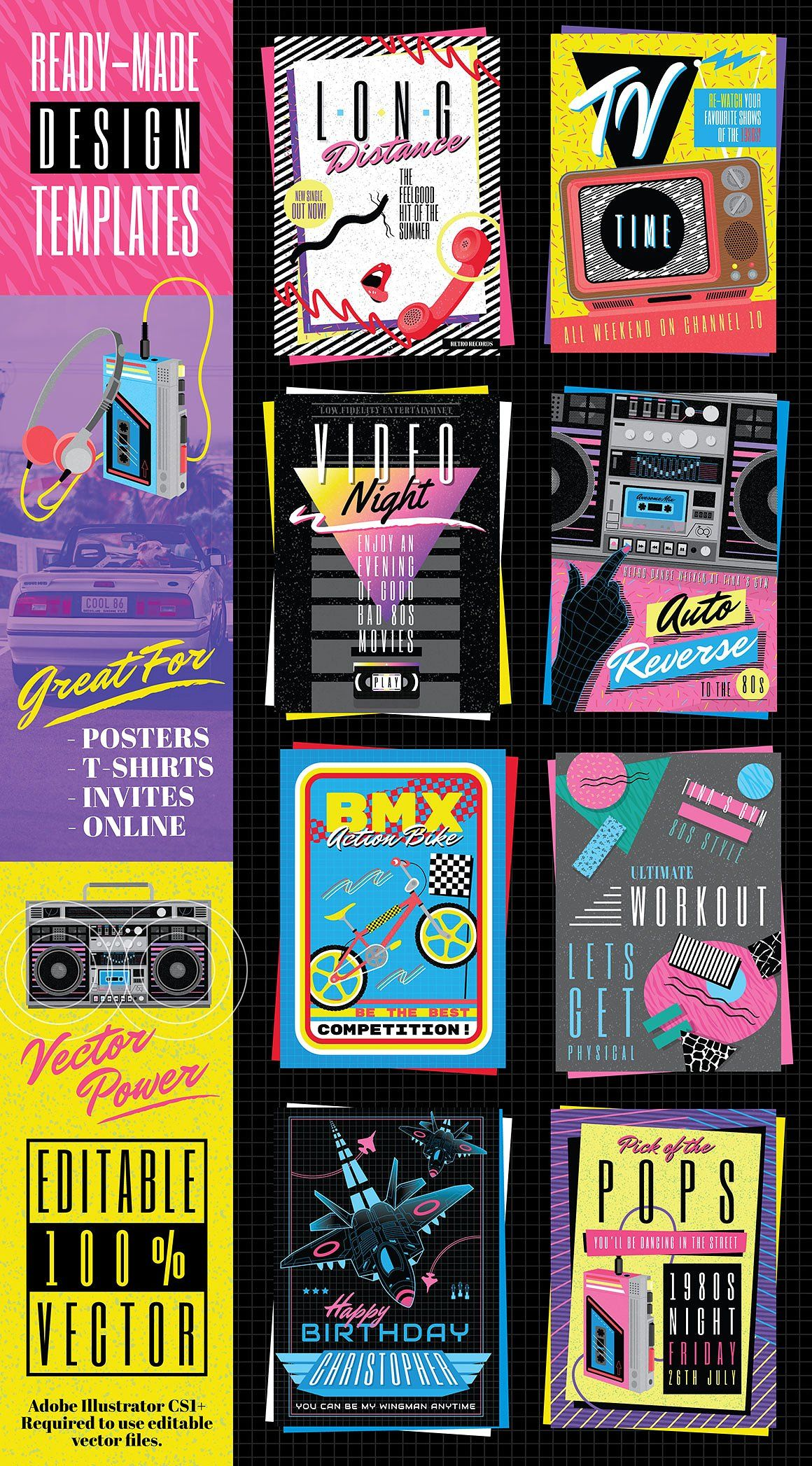 Retro Cool 1980s Poster Templates #pack#running#designs# ...