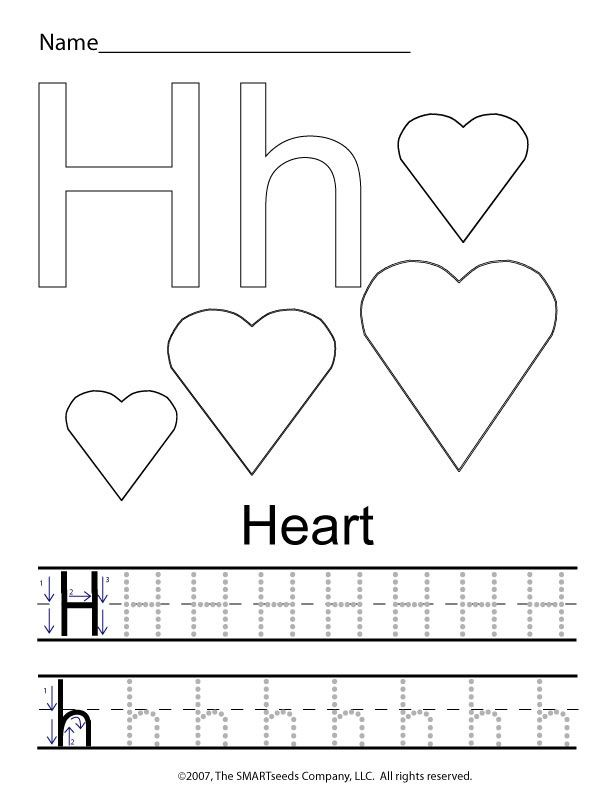 Letter H Worksheets For Preschool: The letter H trace hearts   Preschool Worksheets & Crafts    ,