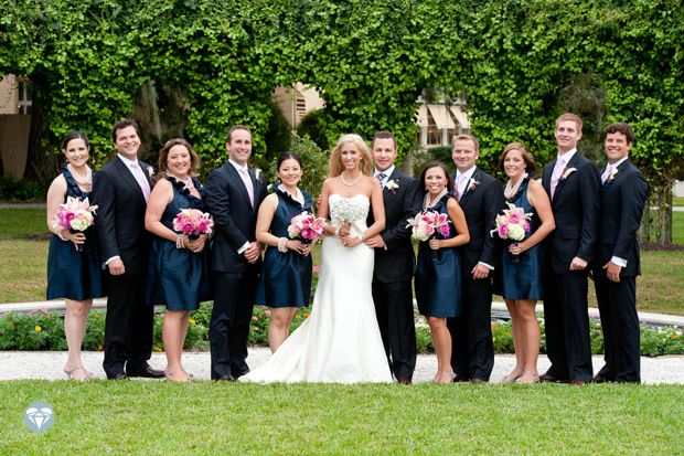 pink and navy wedding color combos