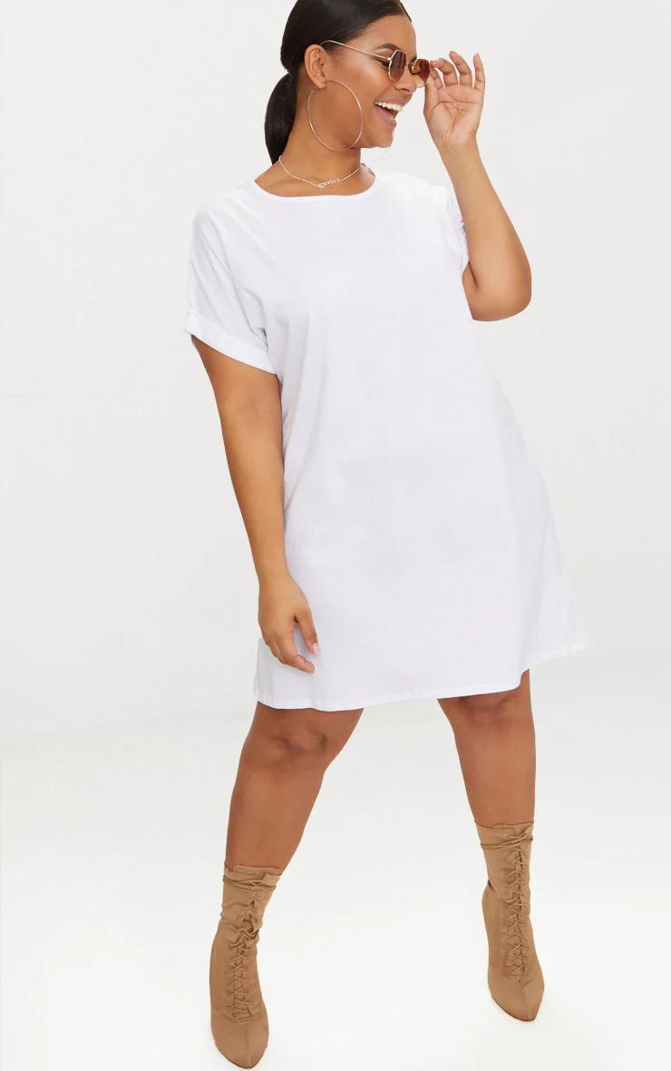 PLUS WHITE OVERSIZED ROLL SLEEVE T-SHIRT DRESS | Oversized t shirt ...