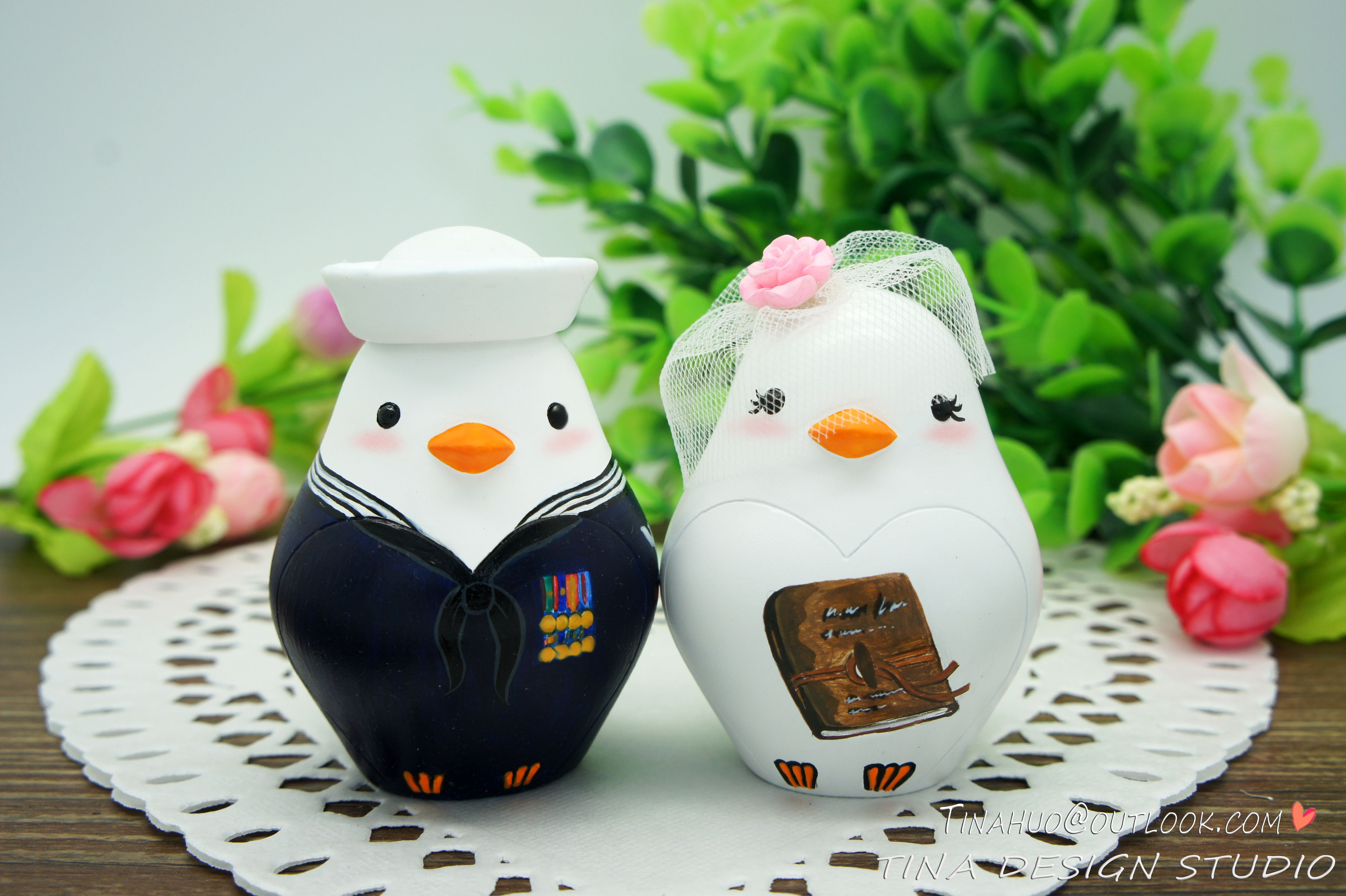 Navy wedding cake toppers love bird wedding cake toppers with