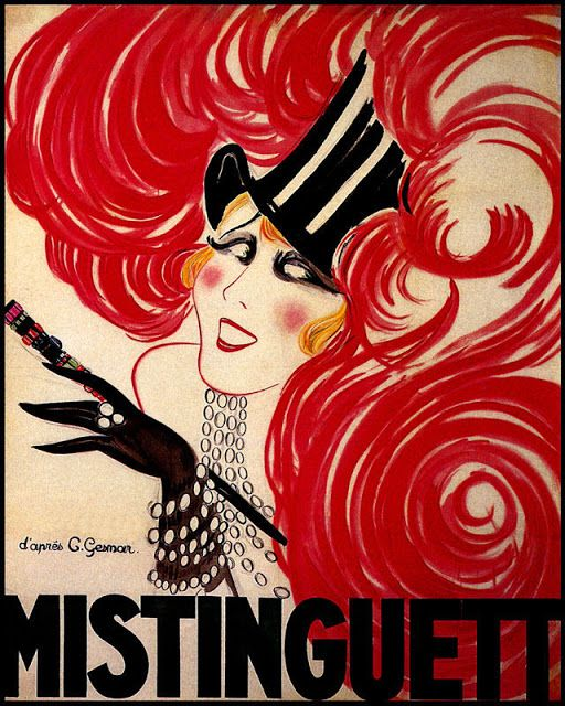 POSTER MISTINGUETT FRENCH ACTRESS HAT WITH RED FEATHERS VINTAGE REPRO FREE S//H