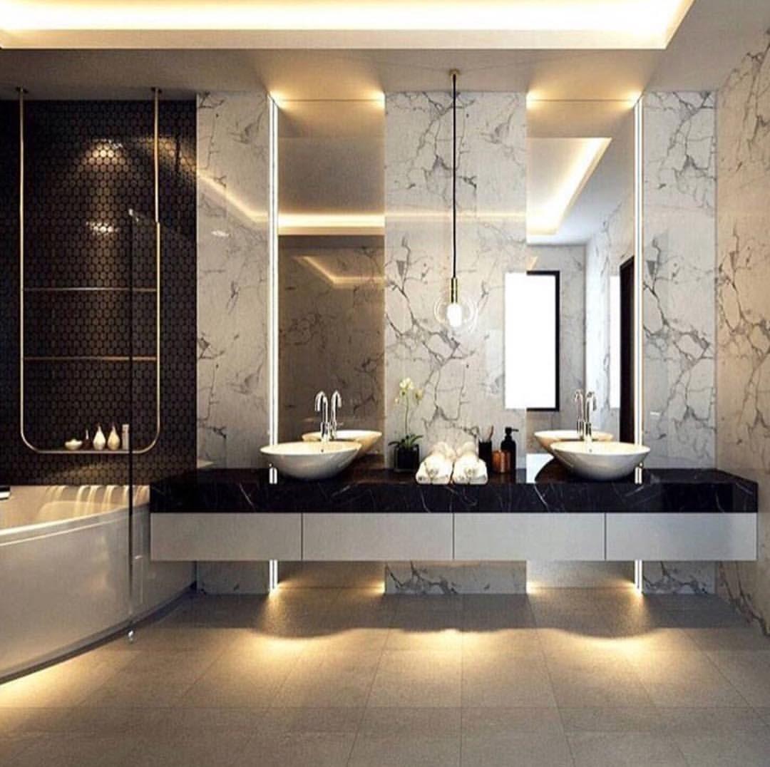 3 163 Likes 14 Comments Lux Interiors On Instagram Beautiful Bathroom Interior Via Mega Mansio Bathroom Mirrors Diy Bathroom Lighting Diy Home Decor