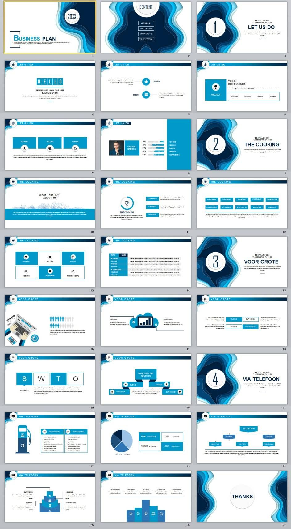 27 blue business introduction powerpoint template ppt design