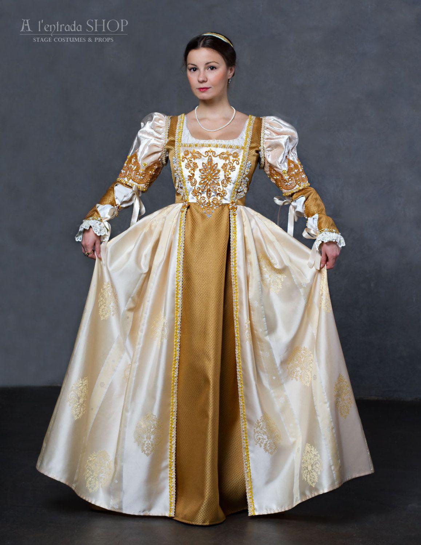 Wedding Renaissance Dress White And Gold Color Lucrezia Borgia: Authentic Renaissance Wedding Dresses At Websimilar.org