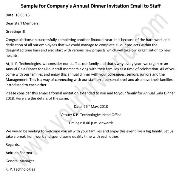 annual dinner invitation email to staff invitation letter example
