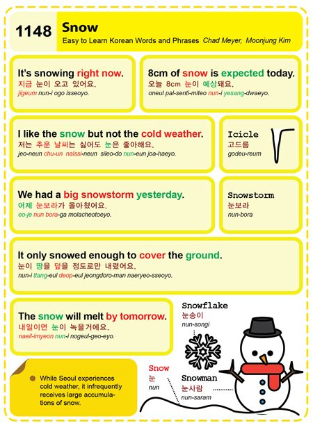 1148-Snow. Chad Meyer and Moon-Jung Kim. EasytoLearnKorean.com An Illustrated Guide to Korean. Copyright shared with the Korea Times.  Visit their Culture section to see a complete list of articles.