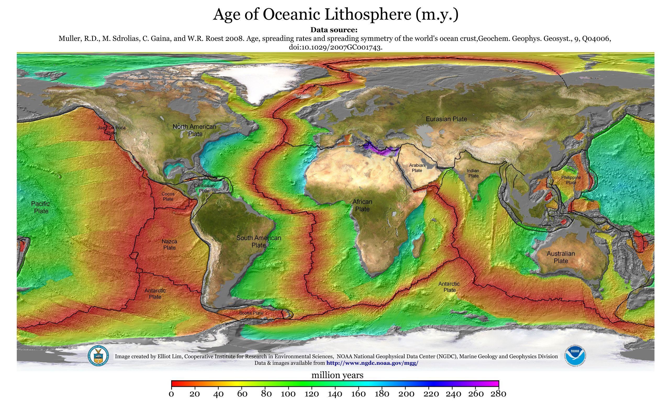 Crustal Age Of The Ocean Floor With Plates Con Imagenes Examen