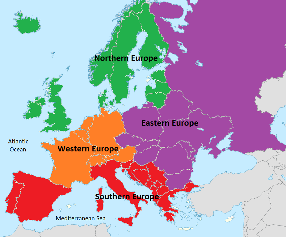Regions Of Europe Map Picture (With images)   Europe map, Europe, Fantasy map