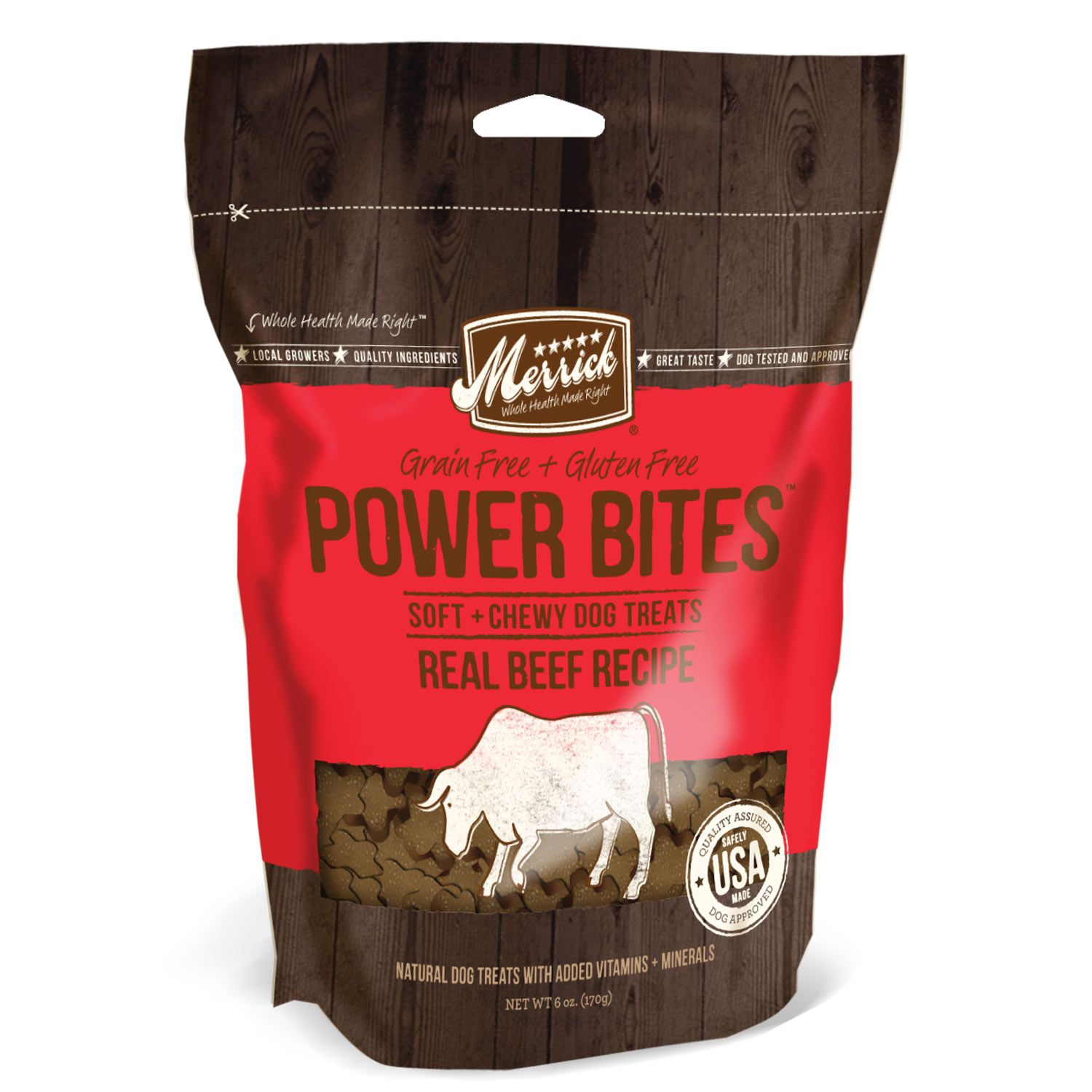 Merrick Power Bites Soft & Chewy Dog Treats Beef dog