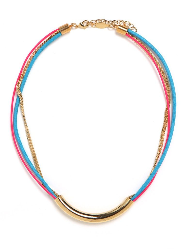 This striking necklace is tailor-made for Maasai lovers with a minimalist streak. It features the tribe's red and blue palette as well as its penchant for hardware tubing—all executed to simple and streamlined effect.