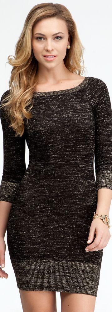 Boatneck Lurex Sweater Dress
