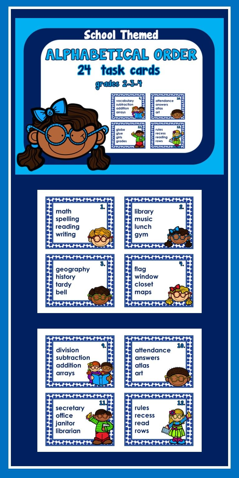 24 Alphabetical Order Task Cards Each Card Contains 4 School Themed Words That Students Place Into Alphabetic Abc Order First Week Of School Ideas Task Cards [ 1536 x 768 Pixel ]